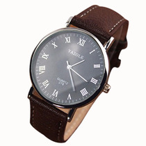 Relógio Yazole Japonês Importado Em Couro Barato Masculino