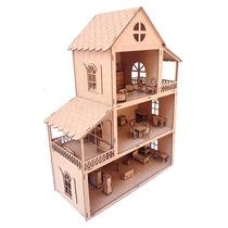 Casa De Bonecas - Mdf Crú -80cm Altura- 50 Movéis - Meninas