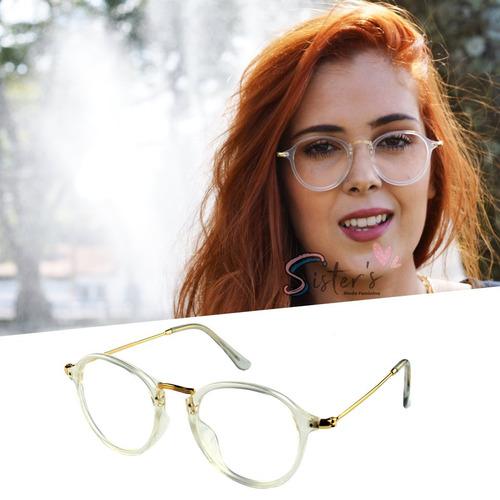Armação Óculos Grau Rayban Feminino Masculino Retrô Redondo. R  48 57d5a1a6fe