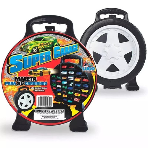 Maleta Super Garagem + 36 Carrinhos Carro Tipo Hot Wheels