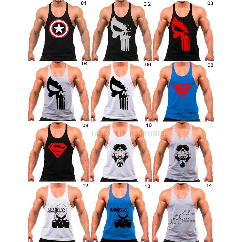 8189c0616d50b Kit 4 Regata Masculina Academia Treinar Musculação Fitness em ...