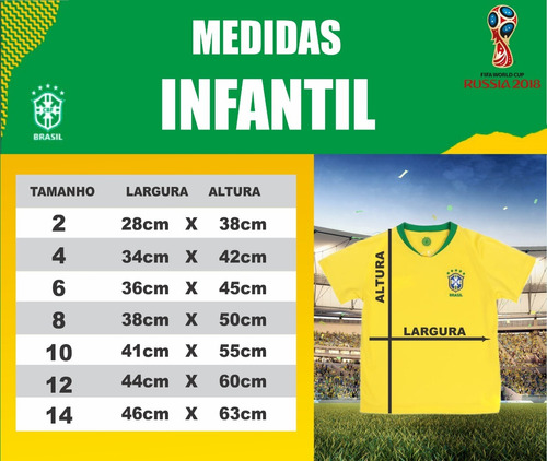 2284ef5743 Camisa Da Seleção Brasileira Infantil Personalizada - R  59 en ...