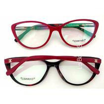 Armação Óculos De Grau Feminino Acetato Cf356-1