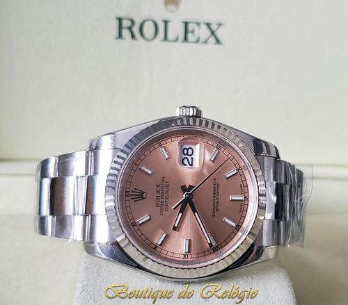 e00ed25900f Relógio Eta Novo Modelo Datejust Dial Pink Arf Aço 904l 36mm