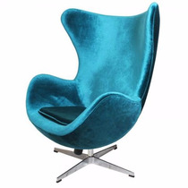 Poltrona + Puff Egg Decor Design Cadeira Suede Azul Turqueza