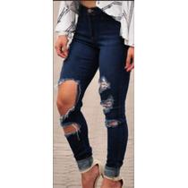 2e22b94e6 Roupas Feminina Calça Jeans Rasgada Cintura Alta Lycra Dins à venda ...