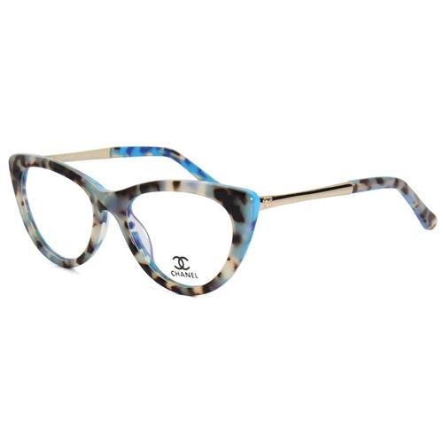 Armação Oculos De Grau Gatinho Ch3389 Acetato 58fce33f70
