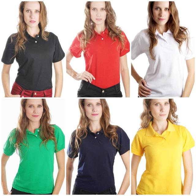 Camiseta Gola Polo Feminina Tamanho P  353c7596e8a71