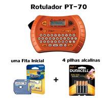 Rotulador Eletrônico Pt-70 Brother 1 Fita 4 Pilhas Alcalinas