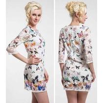 Vestido Renda Borboletas Inspired Farm Importado M