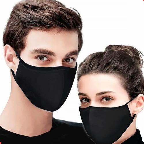 Máscara Reutilizável Tecido Lavável Dupla Camada Preta