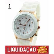 Relógio Feminino Geneva Pulseira Silicone - Envio Imediato