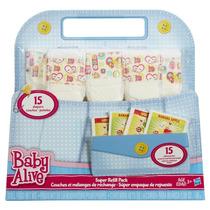 Kit Acessórios Baby Alive Refil 15 Fraldas E 15 Comida
