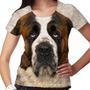 Camiseta Cachorro São Bernardo Feminina