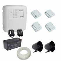 Kit Alarme Ecp 04 Sensores Portas Janelas Sem Fio Discadora