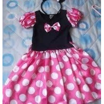 Lindo Vestido Fantasia Minnie Rosa- Estoque
