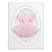 Quadrinho Decorativo Quarto Bebê Saia Bailarina Rosa Pérolas