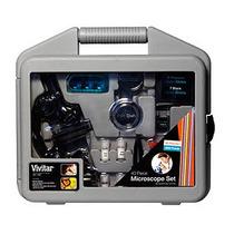 Microscópio Ampliação Até 1200x + Maleta Kit 40 Pçs Vivmic2