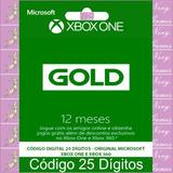 Xbox Live Gold 12 Meses Código 25 Dígitos Oficial