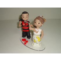 Topo De Bolo Casamento Noivado Biscuit Pequeno