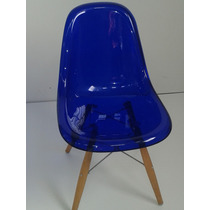 Cadeira Acrílica Dkr Wood Base Madeira - Acrílico Puro