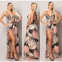 6eb016795 Vestido Longo Envelope Cachequere Transpassado Fenda Perna! à venda ...