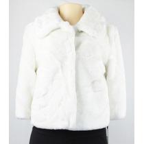 Jaqueta De Couro Falso Com Gola Calvin Klein Branco