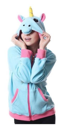 ea0f82dcd1eafe Blusa Kigurumi Unicórnio Azul Rosa Arco Iris Com Brinde à venda em ...