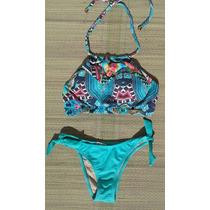 Biquíni/bikini Cropped Com Bojo - Estampa Azul/liso