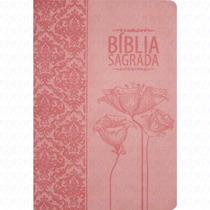 Bíblia Sagrada Floral - Tulipas Rosa Letra Grande