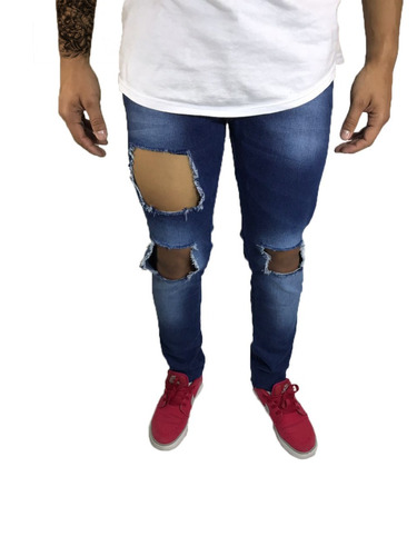 45bd3bbda Calça Masculina Jeans Customizada Skinny Rasgada Destroyerd. R$ 120
