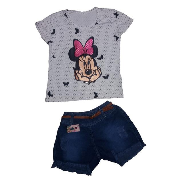 b7378a28da 10 Conjuntos Femininos Infantil Blusa E Short Jeans 199