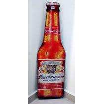 Placa Formato Garrafa Budweiser Cerveja Mdf Decoração Bar