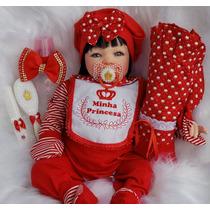 Bebe Reborn Menina Real Barata Vermelha+bolsa Maternidade