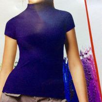 Blusa Gola Alta Malwee Sem Costura Manga Curta Microfibra