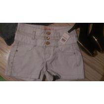 Short Bermuda Jeans Cintura Alta Jeans Claro Tam 36