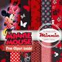 Minnie Mouse Vermelha Kit Scrapbook Digital Papeis E Imagens