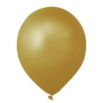 Balão Art-latex Nº9 Ouro - Bexiga Dourada Metalizada 50unid.