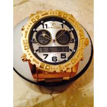 Relogio Metal Dourado Atlantis Estilo Ripcurl