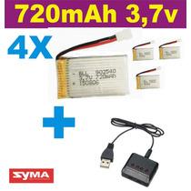 Bateria Para Drone Syma X5c X5sw 4 Und 720mah + Carregador
