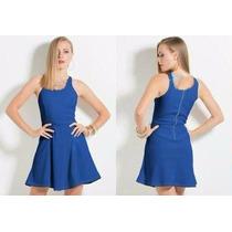 Vestido Evasê Em Piquet Azul Royal
