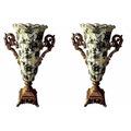 Par De Ânforas Desenho Colonial Vintage Porcelana Decorativa