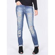 Calça Jeans Skinny Com Destroyed Feminina Denuncia
