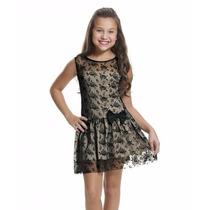 Vestido Preto Renda 4 A 12 Anos-sob Encomenda