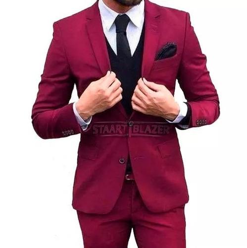 5999ce065f4cf Terno Via Masculino Slim Fit Vermelho Red - Destaque. R  155.99