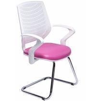 Cadeira Executiva Fixa Delli Com Braço Rosa