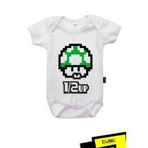 Mario Bros Meia Vida - Body Para Bebês