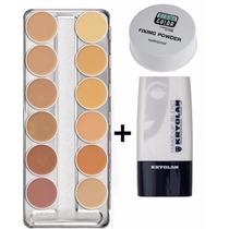 Kryolan Kit Paleta A + Diluidor Makeup Blend+ Pó Fixador 20g