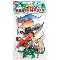 Kit 8 Peças Dinossauros Borracha Miniatura Brinquedo Criança