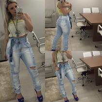 Calça Jeans Estilo Saruel Com Destroyd